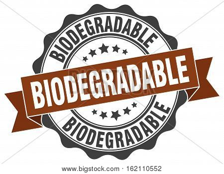 biodegradable. stamp. sign. seal. round. retro. ribbon