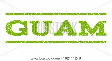 Guam watermark stamp. Text caption between horizontal parallel lines with grunge design style. Rubber seal stamp with dirty texture. Vector eco green color ink imprint on a white background.