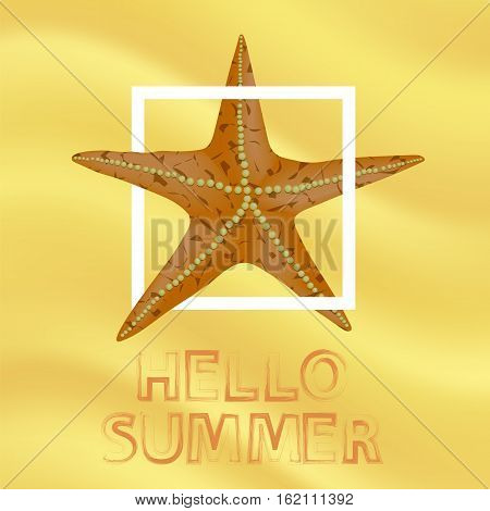 Orange Starfish and White Frame on Yellow Sand Beach Background. Hello Summer Positive Banner