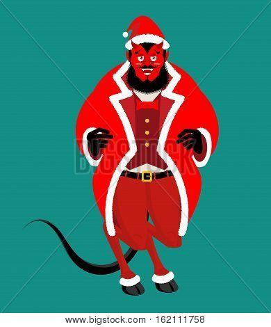 Satan Santa Krampus. Claus Red Demon With Horns. Christmas Monster For Bad Children And Bullies. Fol