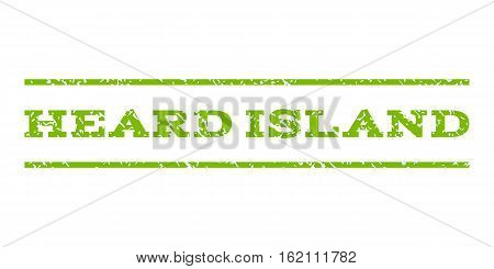 Heard Island watermark stamp. Text caption between horizontal parallel lines with grunge design style. Rubber seal stamp with dust texture. Vector eco green color ink imprint on a white background.