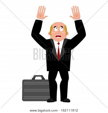 Businessman Case And Fear. Dread Of Boss For Money. Fearing For Cash. Man And Suitcase With Dollar