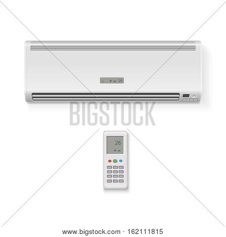 Split system air conditioner and remote controller. Vector Realistic illustration