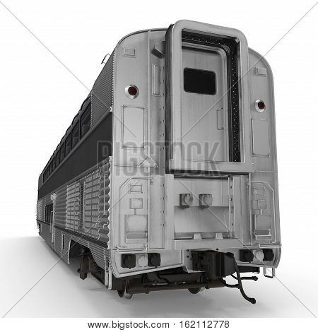 Modern doubledeck Railroad Wagon on white background. 3D illustration