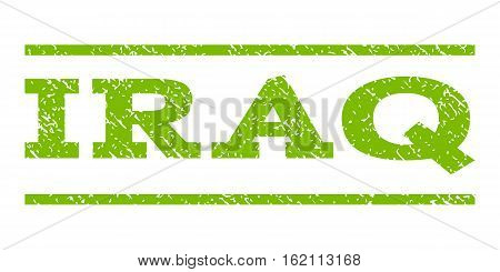 Iraq watermark stamp. Text tag between horizontal parallel lines with grunge design style. Rubber seal stamp with dirty texture. Vector eco green color ink imprint on a white background.