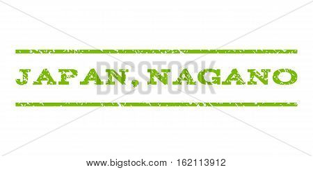 Japan, Nagano watermark stamp. Text tag between horizontal parallel lines with grunge design style. Rubber seal stamp with dirty texture. Vector eco green color ink imprint on a white background.