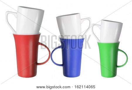Stacks of Coffee Mugs on White Background