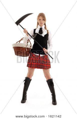 Angry Schoolgirl With Black Scythe
