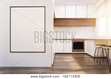 White Kitchen With Poster, Toned