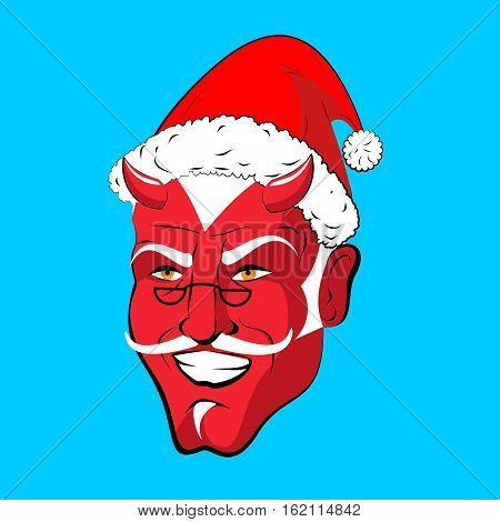 Krampus Satan Santa. Claus Red Demon With Horns. Christmas Monster For Bad Children And Bullies. Fol