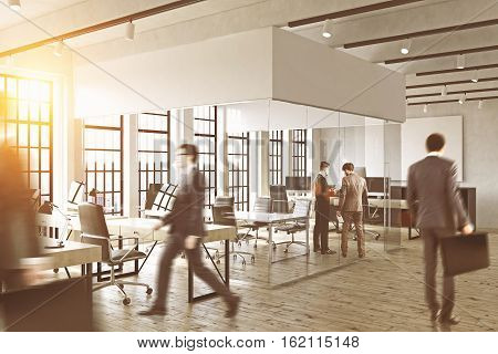 View of business people walking in a glass office. Busy office. Concept of office life. 3d rendering. Toned image. Mock up