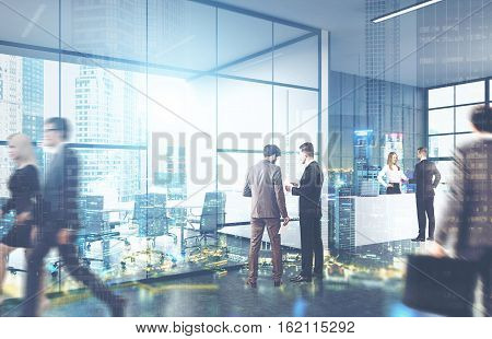 Men and women in suits walking in a glass office. City view is seen on the foreground. Concept of office life. 3d rendering. Toned image. Double exposure