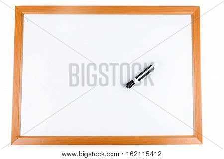 Blank dry erase board with marker isolated on white