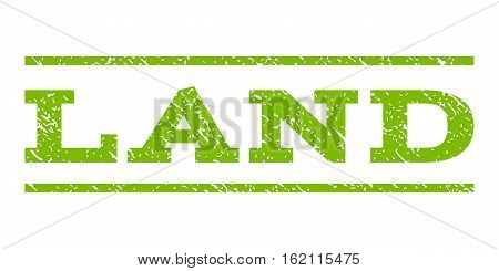 Land watermark stamp. Text caption between horizontal parallel lines with grunge design style. Rubber seal stamp with scratched texture. Vector eco green color ink imprint on a white background.
