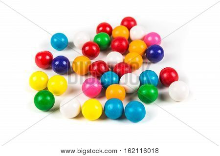 Multicolored Gum Balls Isolated On A White Background