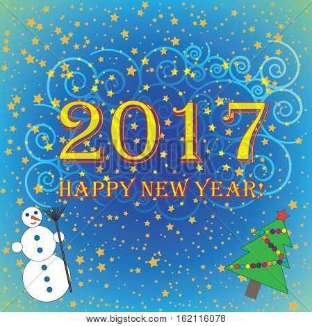 2017 Happy New Year blue with green background with stars (vector)