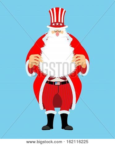 Santa Uncle Sam. American Christmas Claus. Winter Cylinder. Patriotic Grandfather White Beard. Us Na