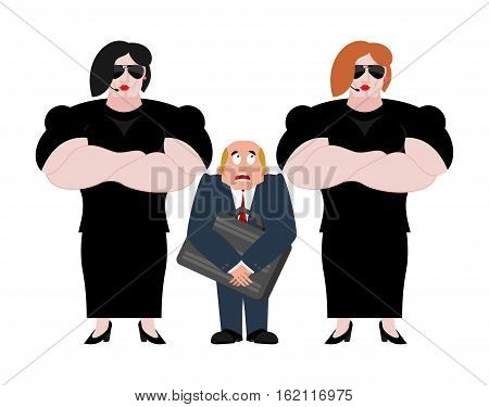 Bodyguard Wooman And Businessman With Suitcase. Vip Protection. Black Suit And Hands-free. Strong Fe