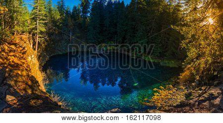Tamolitch Blue Pool Oregon Sunset Panorama