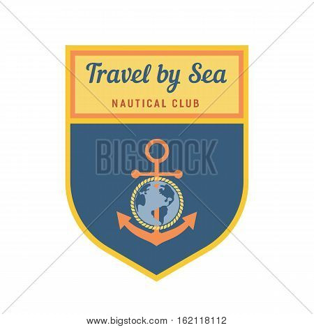 Nautical heraldic emblem. Vector marine icon. Travel by sea badge element. Freehand drawn sailboat symbol. Stylized globe, anchor, rope sign. Sailing club advertisement label background, logo template