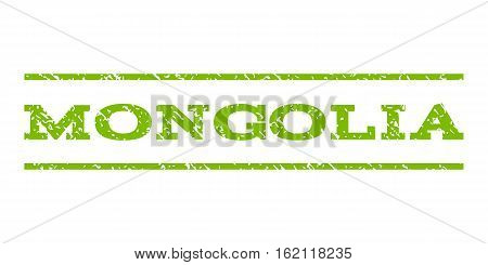 Mongolia watermark stamp. Text tag between horizontal parallel lines with grunge design style. Rubber seal stamp with unclean texture. Vector eco green color ink imprint on a white background.