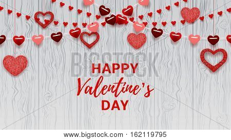 Happy Valentine's Day greeting web banner. Romantic composition with garlands from paper. Beautiful backdrop with heart from threads on wooden texture. Vector illustration.