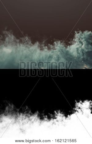 Chemical cloud of blue smoke mixing on dark background with alpha channel. 3d rendering