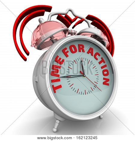 Time for action. The alarm clock with an inscription. Alarm clock with the words
