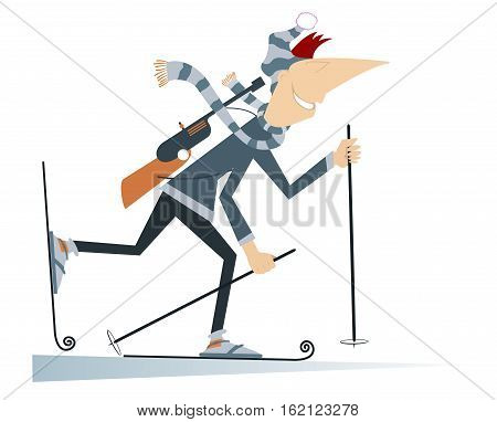 Man biathlon competitor. Cartoon biathlon competitor illustration