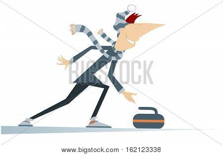 Man plays curling. Cartoon curling player vector illustration