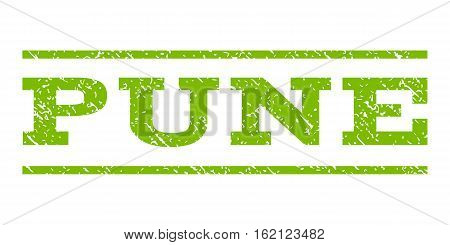 Pune watermark stamp. Text tag between horizontal parallel lines with grunge design style. Rubber seal stamp with dust texture. Vector eco green color ink imprint on a white background.