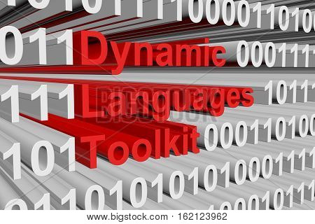 Dynamic Languages Toolkit in the form of binary code, 3D illustration