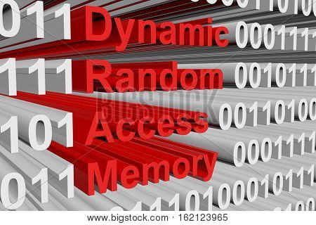 Dynamic random access memory as a binary code 3D illustration