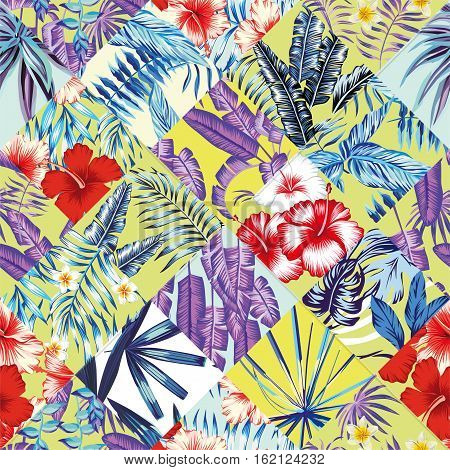 Print fashion tropic jungle seamless vector pattern patchwork in trendy blue style. Red and white flowers hibiscus and plumeria and plant leaf banana palm. Illustration floral poster