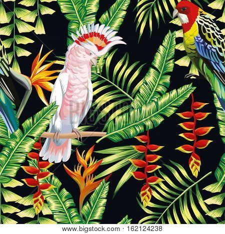 Tropic bird macaw and multicolor parrot on the background exotic lobster claws flower strelitzia and palm leaf. Print summer floral plant. Nature animals wallpaper. Seamless vector pattern