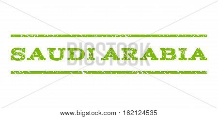 Saudi Arabia watermark stamp. Text caption between horizontal parallel lines with grunge design style. Rubber seal stamp with scratched texture.
