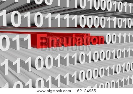 emulation in the form of binary code, 3D illustration