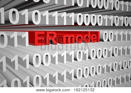 er model is represented as a binary code 3d illustration