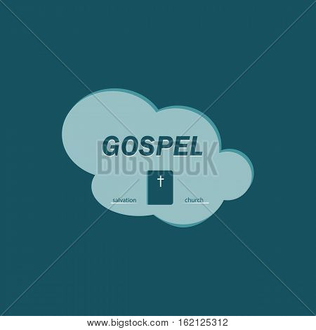 The logo with the gospel inside the cloud. Salvation in the book of the gospel.