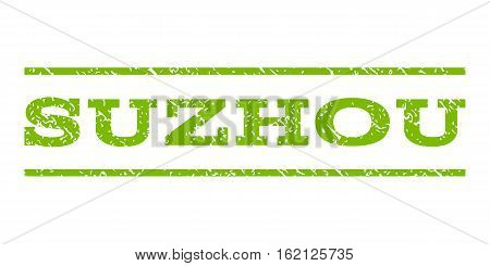 Suzhou watermark stamp. Text caption between horizontal parallel lines with grunge design style. Rubber seal stamp with unclean texture. Vector eco green color ink imprint on a white background.