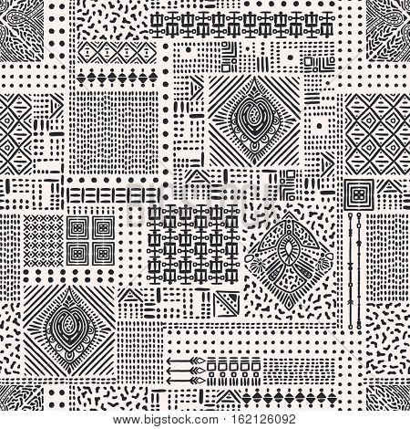 Ethnic abstract ornament. Seamless pattern with hand-drawn design elements, rhombus. Monochrome vector illustration.