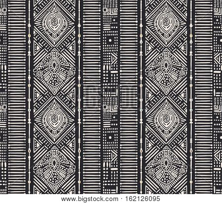 Ethnic vertical ornament. Seamless pattern with hand-drawn design elements, vector illustration.