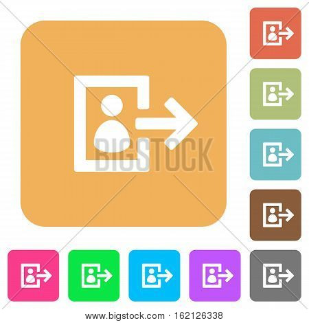 User logout icons on rounded square vivid color backgrounds.