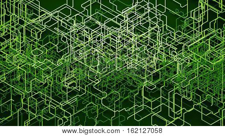 Geometric Background. Chaotic Growing Lines. Random Lines.