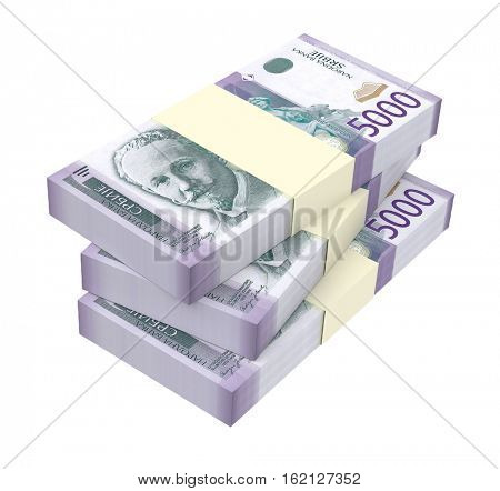Serbian dinar isolated on white background. 3D illustration.