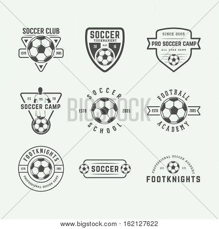 Set of vintage soccer or football logo emblem badge. Vector illustration. Graphic Art
