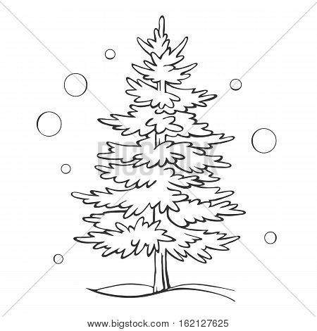 Christmas tree sketch symbol vector xmas winter.  Outline drawing isolated on a white background.
