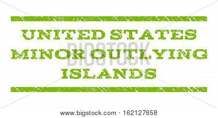United States Minor Outlying Islands watermark stamp. Text tag between horizontal parallel lines with grunge design style. Rubber seal stamp with dust texture.