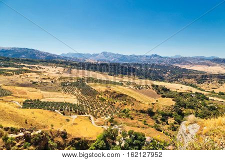 view of the surroundings from a height of Ronda, Spain