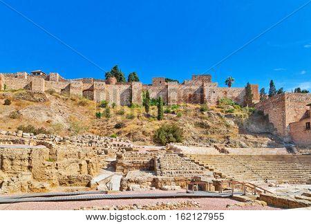 Roman amphitheatre ruins in Malaga. Spain